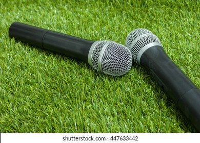 Microphone on green grass