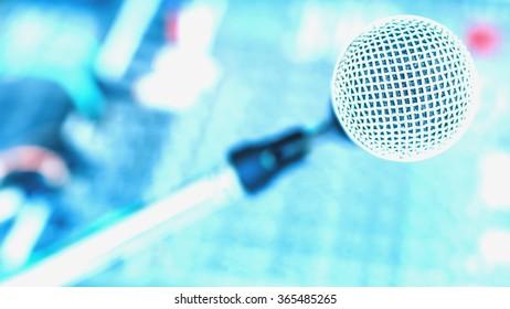Microphone on mixer studio ,cool tone