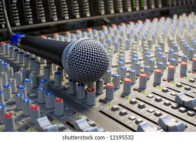 microphone on the mixing desk sound studio
