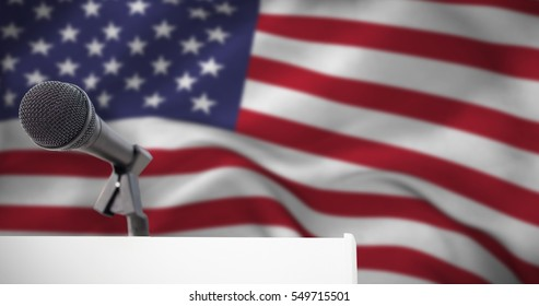 Microphone on podium against american flag