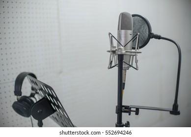 Microphone on recording room,studio microphone