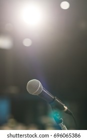 Microphone on stage in concert hall