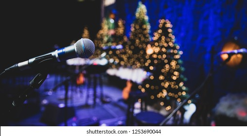 Microphone on stage during Christmas holiday show