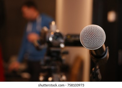 Microphone. Microphone on stage.  Wireless sound equipment.Selective focus