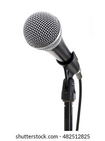 Microphone on stand contains clipping path