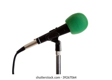 Microphone on a stand with a green cover on a white background