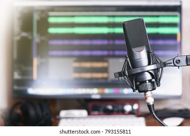 microphone on a stand. Home Podcast Studio.