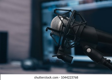 Microphone at radio station, closeup