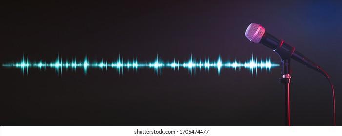 Microphone and radio wave on dark background. Banner design