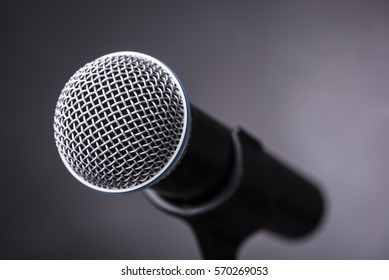 Microphone ready on grey background