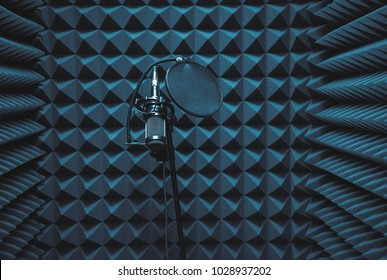 microphone in the recording studio. Microphone and audio console in holder
