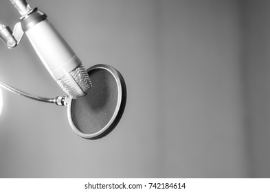 the microphone in sound music room,gray scale tone,select focus