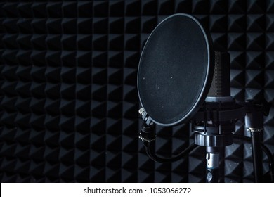 Microphone at the sound recording studio room