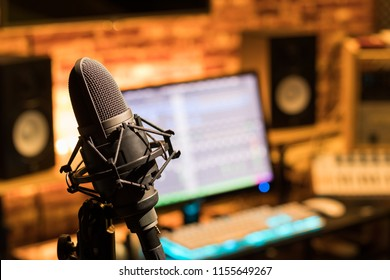 microphone in sound studio. music, recording or broadcasting concept