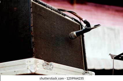 microphone and speaker music band vitage old man style