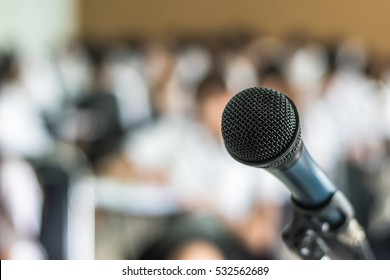 Microphone speaker in seminar classroom, lecture hall or conference meeting in educational business event for host, teacher, or coaching mentor