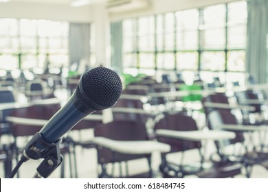 Microphone speaker in seminar meeting room or conference educational business event
