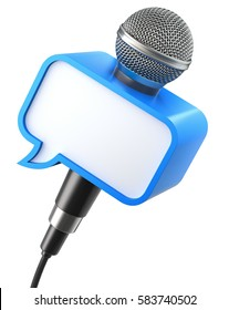 Microphone with speech bubble box isolated on a white background - 3D illustration