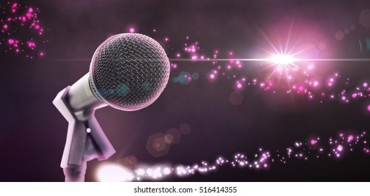 Microphone with stand against bright light energy design in black and pink
