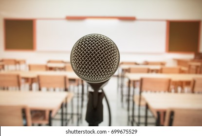 microphone stand center for speech and teaching  at class room in school and university, selective focus, education concept
