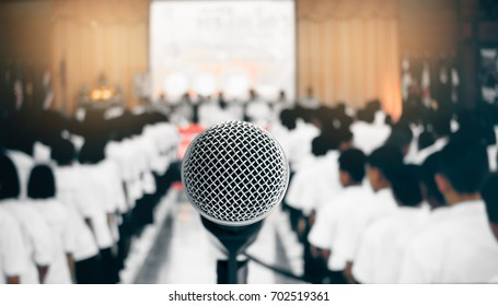 microphone stand center for speech and teaching  at meeting room, conference hall in school and university, selective focus, education and speaker concept