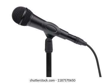 Microphone and stand isolated on a white background