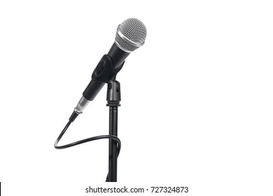 Microphone with stand isolated on white background