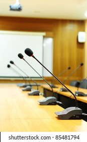 Microphone standing on a meeting room table