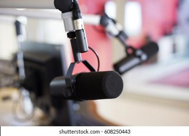Microphone in studio for radio broadcasting