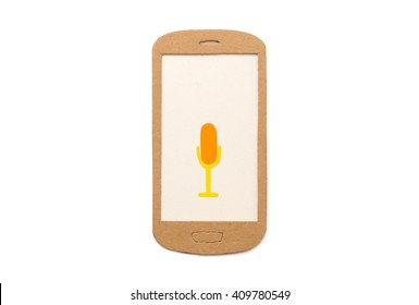 Microphone symbol on smart phone - concept for voice recording app, speech recognition, broadcasting - isolated