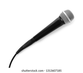 Microphone with wire on white background, top view