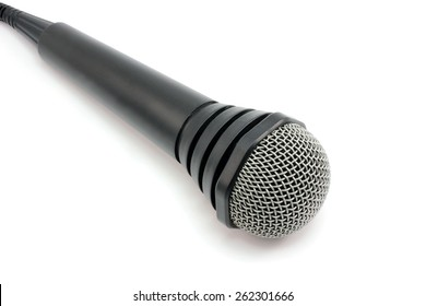 Microphone with a wire on a white background