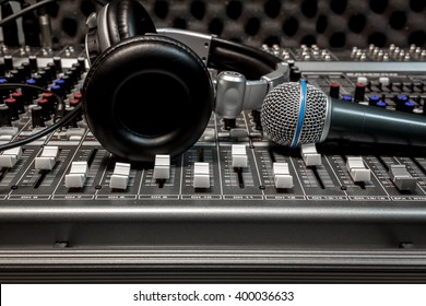 microphone,headphone on sound mixer music background.