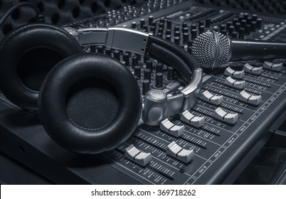 microphone,headphone,sound mixer background.