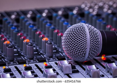 Microphone,Mixer,Volume,Audio mixer and microphone,bright images.