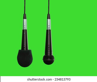 Microphones hanging side by side