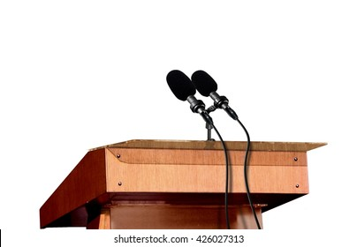 Microphones on the podium over white