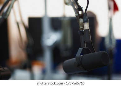 microphones for radio presenters in the radio room