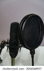 microphones for sound recording. microphones at the recording studio. microphones in microphone holders.