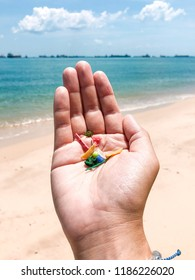Microplastics found during a beach clean up in Singapore