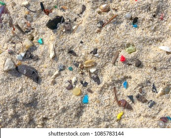 Microplastics on a beach