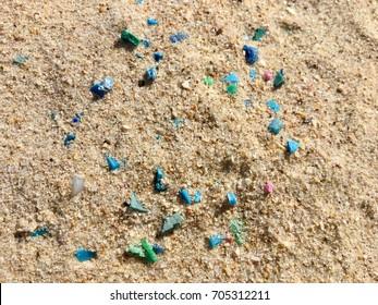 Microplastics on sand