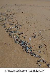 Microplastics on tourist beach