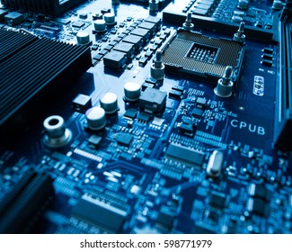 Microprocessor with motherboard background Computer board chip circuit cpu core texture blue technology with processors microelectronics hardware concept electronic device