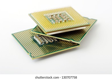 Microprocessors isolated on white background