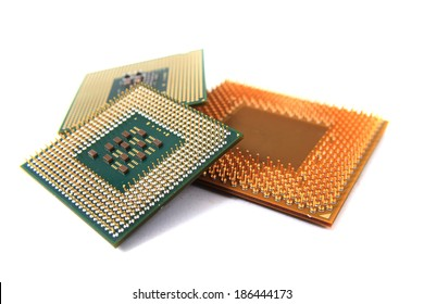 microprocessors isolated on the white background