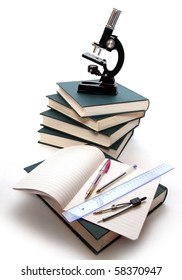 Microscope, books and others tools for education.