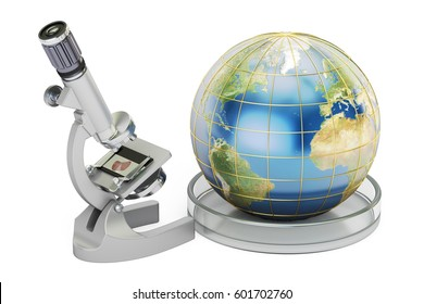 Microscope with Earth Globe, global research and discovery concept. 3D rendering, Elements of this image furnished by NASA