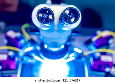 Microscope. Laboratory with a microscope. New technologies. Scientific research. The study of the behavior of materials.