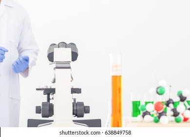 Microscope laboratory research room with white background.